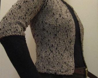 Crop cardi in vintage cotton tan with black flecks- Size XS/S