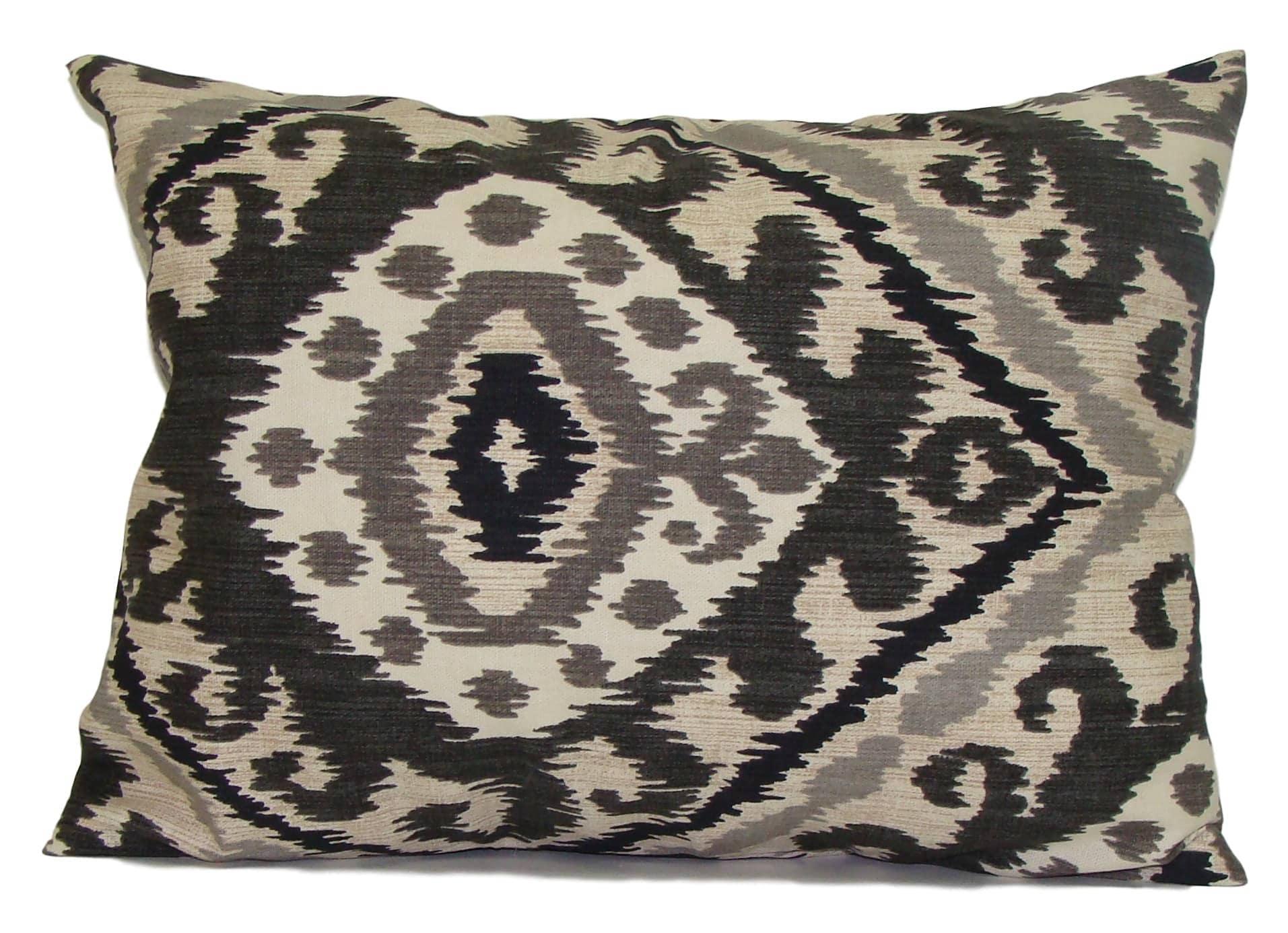 Decorative Pillow Cover 12x16 : Black Ikat Pillow 12x16 or 12x18 Black Pillow Cover Black