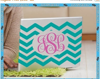 ON SALE NOW Chevron Monogram laptop decal / Tablet Decal / iPad Decal / Girly Decal / Teen Decal / Tween Decal / Personalized Decal