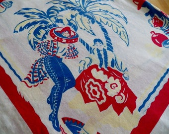 Fabulous Mexican FIESTA Vintage 1950's  Cotton Tablecloth