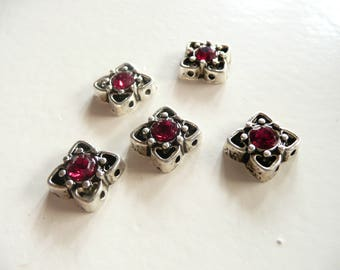 LAST 3 SETS - Swarovski Crystal Antique Silver Plated 2 Hole Slider Bead - 11mm - Ruby  - 5 pieces