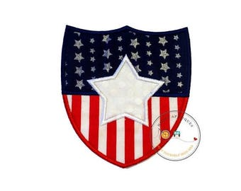 ON SALE NOW Stars and stripes shield iron on applique-large red white and blue holiday machine embroidered fabric patch-Diy boutique fashion