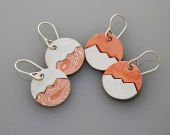 Mixed metal jewelry mixed metal mountain earrings, silver and copper peaks dangles