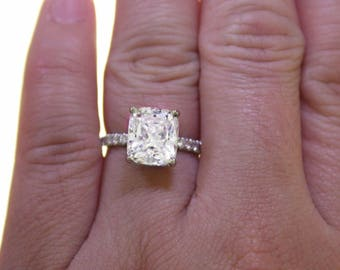 Stunning 1.50 ct. Radiant Cut Diamond Engagement Ring Pave GIA Certified E, VS1