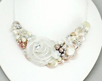 Blush Bridal Bib- Blush Wedding Necklace- Vintage Inspired Necklace- Champagne Pink Necklace- Blush Pink Bib-Wedding Necklace-Dusty Pink Bib