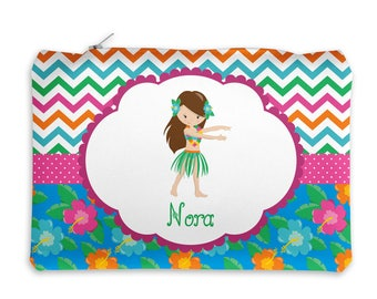Personalized Pencil Case - Luau Party Girl Chevron Flower Dots with Name, Customized Pencil Case, Pencil Holder, Pouch