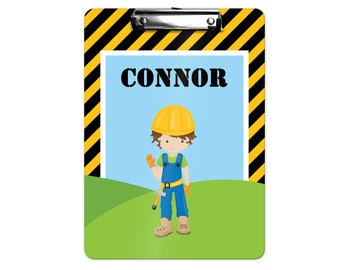 Personalized Kids Clipboard - Construction Boy Girl Black Yellow Stripes, Single Sided or Double Sided Custom Clipboard Back to School