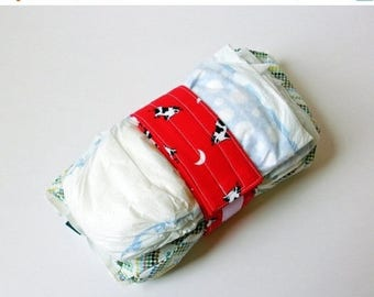 FINAL CLEARANCE Clearance Vintage Cow Print Diaper Strap - Red Cow Jumped Over the Moon Vintage Fabric
