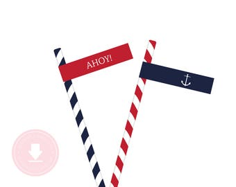 INSTANT DOWNLOAD Printable Nautical Straw or Cupcake 'AHOY' Flags (Red Nautical Party, Anchor Straw Flags, Boys Preppy Nautical Party)