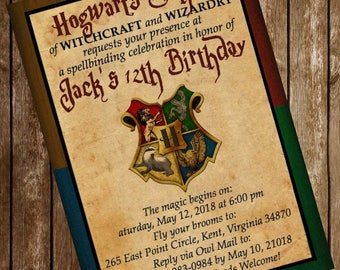 Harry Potter Hogwarts Birthday Party Invitation Download 4 x 6 or 5 x 7 inches