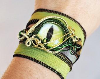 Green Dragon eye bracelet silk ribbon wrist cuff wristband Dragons eyes handmade fantasy wire wrapped jewelry Christmas gift for girls boys