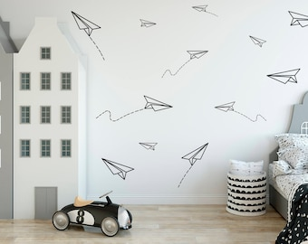 Paper Planes, Wall Decal, Boys Room Wall Decor,Paper Plane Sticker, Boys Part 98