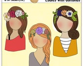 2.00 SALE! Faceless Ladies with Garlands in their Hair  3 Lovely Ladies with Garlands, Art Journaling or Bible Journaling Girls
