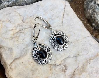 Genuine . Sterling Silver . Black . Onyx . Earrings