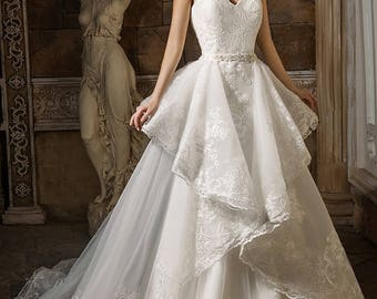 Detachable Train Fit and Flare Peplum Wedding Dress