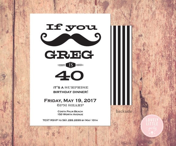 Mustasche Masculine 30th/40th/50th/21st/60th Birthday Invitation - Lovely Little Party