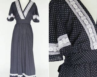 SUMMER SALE Vintage 70's Blue Lace Prairie Dress - Maxi Empire Waist Polka Dot Cotton Casual Summer Dress - festival boho dress- ladies size