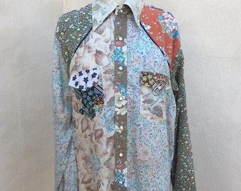 Vintage hipster hippie rustic worn cowboy shirt mosaic fabrics sz XL