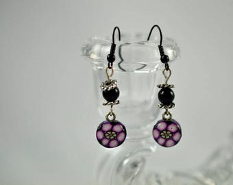 Black and Purple Earrings High Gloss Polymer Clay