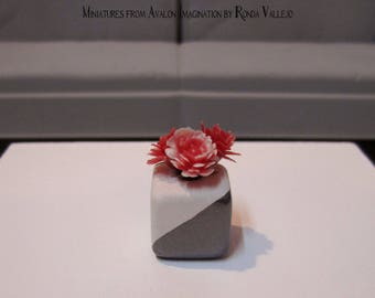 Miniature dollhouse floral arrangement - cranberry and pink flowers on a white ceramic cube vase dipped in Steel Metallic