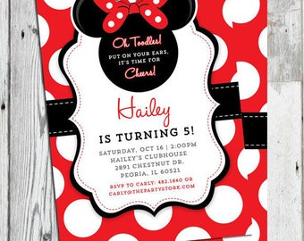 Minnie Invitation with Thank You Card Combo, Minnie Mouse Invites, Minnie Birthday Invites, Red and White Polka Dots Black, White Printable