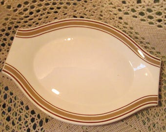 Vintage Jackson China Restaurant Ware Lugged Handle Platter, Brown Bands