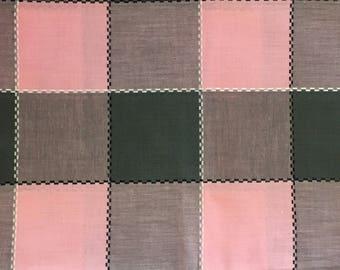 Cotton Fabric / Pink Plaid Fabric / Plaid Cotton Fabric / Vintage Plaid Fabric / Pink and Gray Plaid / Plaid Fabric / Quilting Fabric