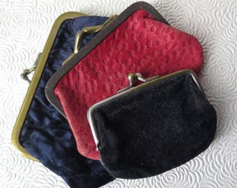 Antique Coin Purse Set of Three Blue Red Black Leather Satin Velvet Edwardian Victorian Christmas Gift Stocking Stuffer Holiday Decor