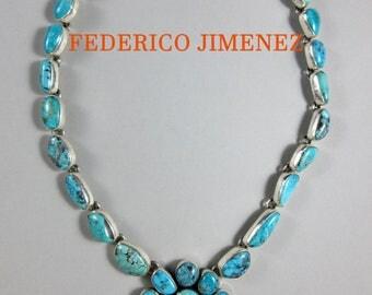 "FEDERICO JIMENEZ~Vivid~Free Form~Kingman Turquoise~Cluster~925 Necklace~19"""