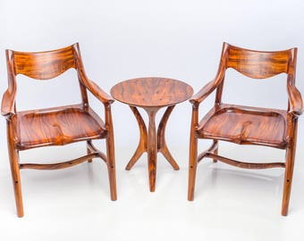2 Armchairs with Table, Built from Curly Acacia Koa, Listed together here as a Set, can be built/sold separately