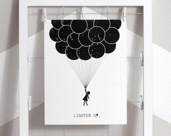 SALE balloons art print, balloon girl art, giant balloons, balloons art, lighten up, eco friendly print, love balloons, black and white ball