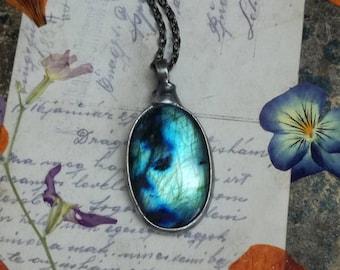 Labradorite Necklace, Blue Labradorite, long statement necklace ,Gothic jewelry, labradorite pendant, august birthstone jewelry