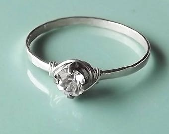 Hammered Sterling Silver Swarovski Crystal Ring - Silver Ring - Stacking Rings - Wire Wrapped Crystal Band