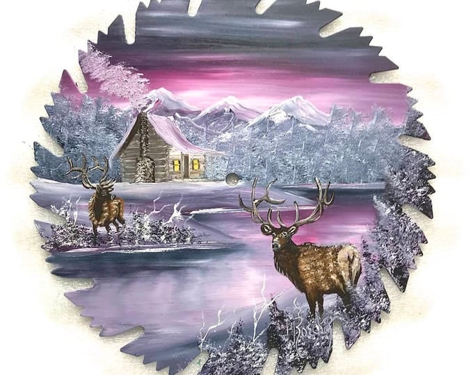 Hand Painted Saw Blade Mountain Gray Mauve Winter Log Cabin and ELK