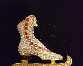 Gold Toned Rhinestone Vintage Skate Pin