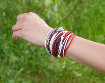 American flag colors, Patriotic Jewelry, Marine Style Bracelet, Red Blue White Wrap Bracelet, Hippie Bracelet Style, gift for her