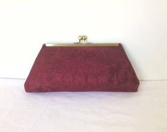 Burgundy Damask Clutch, evening bag, purse, bridesmaid bag, handbag, recycled remnant fabric, thrifted fabric, upcycled fabric