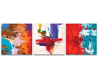 Abstract Wall Art 'Urban Triptych 5 Large' by Celeste Reiter - Urban Decor Contemporary Color Layers Artwork on Metal or Plexiglass