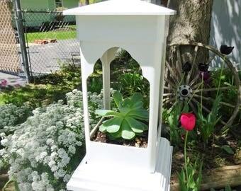 PVC birdfeeder, hanging feeder, ez clean, suet holder, succulent planter, small birdfeeder, lantern for LED candles, white pvc, Made in USA