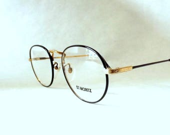 Round Black gold Eyeglasses, Big Metal Frames, Womens vintage eyeglasses, Round Glasses, New old stock