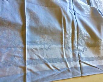 Vintage Blue Damask Tablecloth Banquet Size