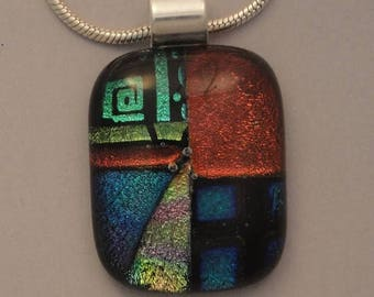 Christmas in July Sale Fused Dichroic Glass Multi-Colored Pendant - BHS03481