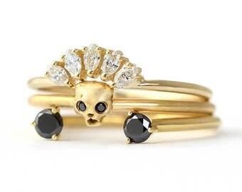ON SALE Bohemian Bridal Set, Wedding Set, Skull Ring, Black Diamond Ring, Diamond Bridal Set, Cat Skull Ring, Black Wedding Ring, Horseshoe