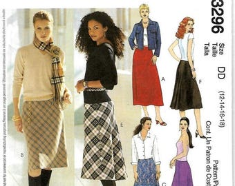 ON SALE McCall's 3296 Sewing Pattern, Misses Bias Skirts With Straight Or Fishtail Back, Size 12-18, UNCUT