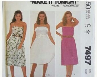 ON SALE 1980's McCall's 7497 Make It Tonight Misses Dress Sewing Pattern, Size 10, UNCUT