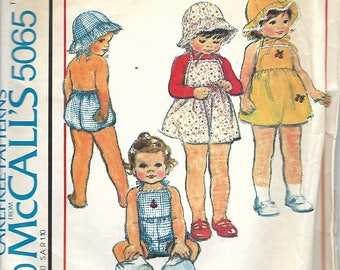 1970's McCall's 5065 Toddlers Dress Or Jumper, Romper And Hat Pattern, Size 2