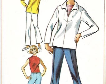 Vntg Simplicity 6364 Misses Overblouse And Bell Bottom Pants Pattern, Size 12, Bust 32, UNCUT