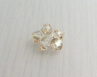 5 Golden Shadow 4mm Swarovski Crystal Beads, 4mm 5328 Xilion Bicone Crystals, Golden Yellow Crystal Beads, Bead Destash