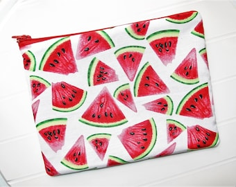 Pouch Makeup organizer or Cosmetic case with Watermelons