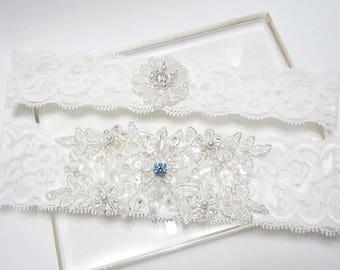 Lace garter set, wedding garter set, white garter set, lace wedding garter set, something blue wedding garter set